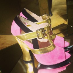 Pink sandals at Miu Miu. ML