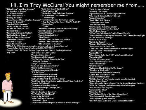 Hi, I'm Troy McClure! You might remember me from…