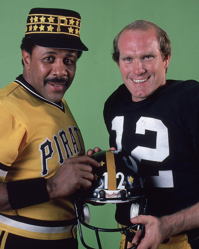 Willie Stargell and Terry Bradshaw pose together during a photo shoot for Sports Illustrated's 1979 Sportsman of the Year. (Walter Iooss Jr./SI) SI VAULT: Two champs from Pittsburgh win SI's highest honor (12.24.79)