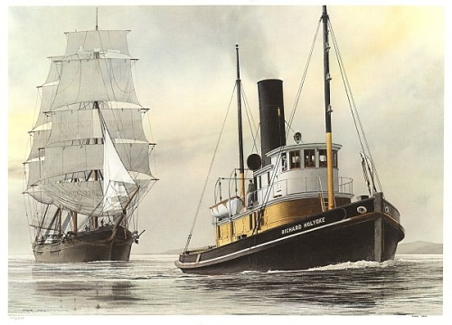 The steam tugboat RICHARD HOLYOKE tows a sailing ship through the Straits of Juan de Fuca. San Juan Island in the background to the north - watercolor by Steve Mayo.