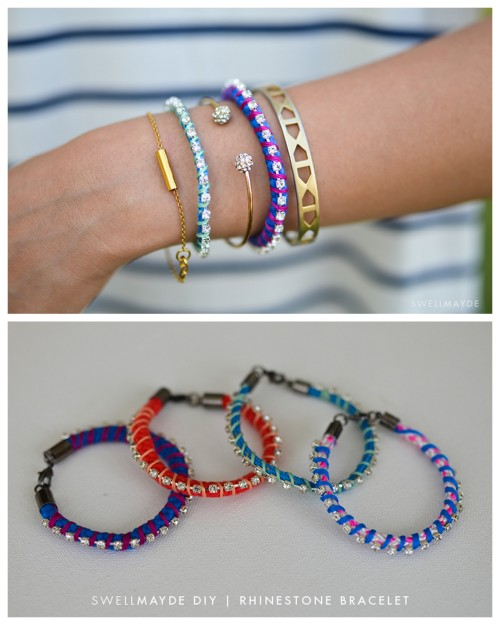 truebluemeandyou:  DIY Easy Rhinestone Wrapped Rope Bracelet Tutorial from Swellmayde here. Really easy DIY an you can use any color/patterned rope as the base.