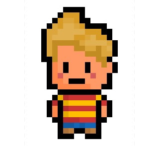 Lucas, the young PSI-powered boy from Tazmily Village and main hero from Mother 3, now given his very own 14 x 24 PixelBlock-style upgrade.  See AlsoNess
