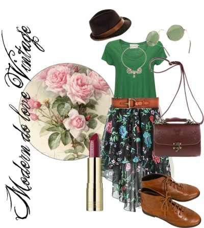 Modern et Vintage by fashionable-vogue featuring a green t shirt ❤ liked on PolyvoreAmerican Vintage green t shirt, $59 / Printed skirt / Lace up ankle booties / Brown shoulder bag / Anton Heunis butterfly jewelry, $290 / HTC trilby hat, $285 / Linea Pelle hip belt / Vintage round sunglasses / Vintage Victorian Romantic Roses Sticker