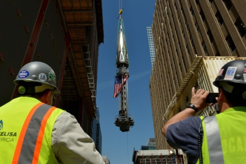 Hoisting the Mast - Freedom Tower