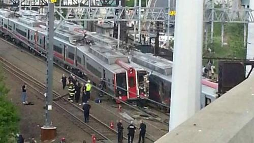 Two Metro North commuter trains crash, reports of injuries: At least 20-25 people have been injured after two Metro North trains crashed outside of Bridgeport, Ct., the Associated Press reports via its Twitter account. (No fatalities have been reported, however.) The heavily-trafficked train route, between New York City and New Haven, Ct., has been suspended for the time being. (photo via NBC Connecticut) UPDATE: Reports now have 60 injured, including five critically.