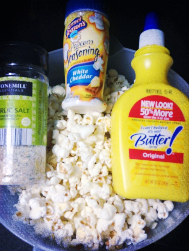 rachaelfightsback:  My current snack addiction: Air popped popcorn.  Sometimes I just want to snack and munch, but no way am I going to eat like 15 chips in 4 seconds 2 minutes for 150 calories. Instead, I have been making air popped popcorn! I can legit eat a whole bowl… and a large bowl at that. I air pop roughly 1/4 to 1/3 cup of kernels (sometimes maybe even more if I have to share any hehe)  and then instead of high calorie butter, I just spray a bit of I Can't Believe It's Not Butter spray throughout the bowl. I top with various seasonings, last night being garlic salt and white cheddar seasoning.  It's delicious, helps with late night cravings, and it's only the calories from the kernals! :)