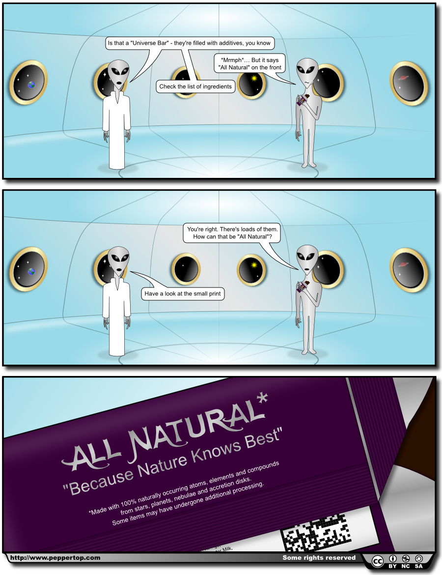 """The All Natural* Universe Bar"" This strip first appeared on our website in February 2011.If you like our work we would love you to follow 'The Greys' and our other comic, 'Monsters, Inked' on Twitter or Facebook. More recent strips for both comics can also be found on our website."