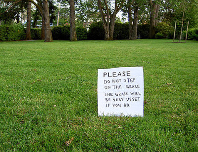 Please do not step on the grass.