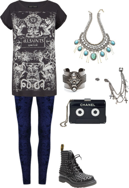 Blue velvet por julianajace usando long necklacesAllSaints vintage t shirt / Blue velvet legging / Dr. Martens  boots, $365 / Clutch / DANNIJO long necklace / DANNIJO cuff bracelet / Cross earrings