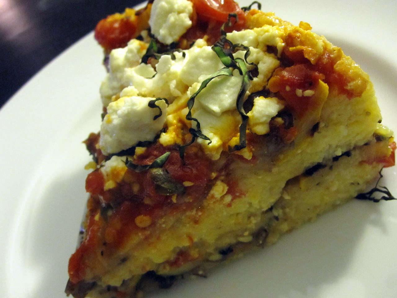 Eggplant Polenta Lasagna:  This healthy spin on traditional lasagna is loaded with veggies and bursting with flavor. Polenta is used in place of noodles and goat cheese in place of ricotta in this layered one dish wonder. This recipe comes to us from Joy Bauer of JoyBauer.com.