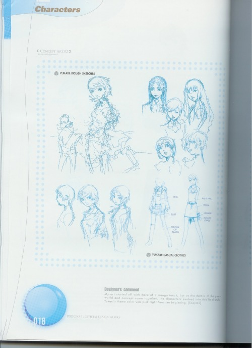 la-roue-de-fortune:  Persona 3 Official Design Works scans: Yukari Open picture in a new tab for high-res