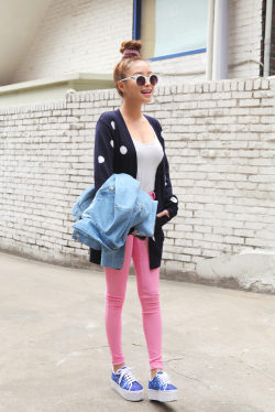 the-streetstyle:  Button-up Polka Dot Cardiganvia stylenanda