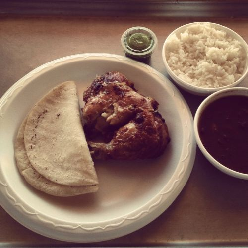 "Pollo RikoPollo Riko is one of the best lunch deals in a part of town (Sharpstown / New Chinatown) packed with amazing lunch deals.  Seriously, if you're paying more than like seven bucks for lunch anywhere in the area… something's wrong.I'm by no means an expert on all the food of the area, but I've ventured out quite a bit and Pollo Riko is by far one of my favorite stops.  They specialize in South American style rotisserie chicken (and when I say ""specialize"" I mean it's the only thing they make other than the sides).The lunch special - 1/4 dark meat rotisserie grilled chicken, 2 sides, choice of 2 corn tortillas or arepas and a drink is $4.50.  Cash.  This is my lunch crack.  I jones for this on a regular basis.There are also both a Wendy's and a Crap In The Box next door… and Pollo Riko is definitely a better deal and has better food than both… if you're eating at either one of those I feel bad for you son…"