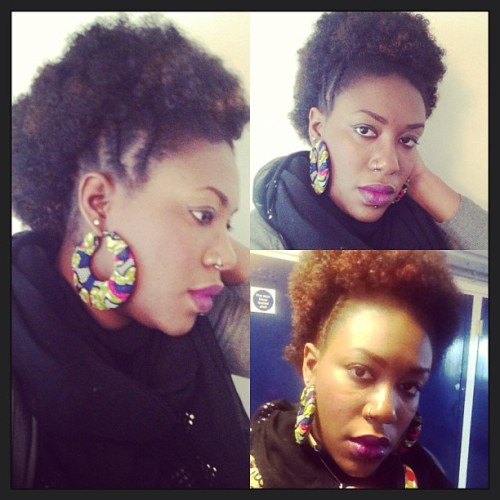 Morning yall! New week new hair #mohawk #afro #afrodontcare #teamnatural earrings by @routesdeesigns have a blessed week yall xx