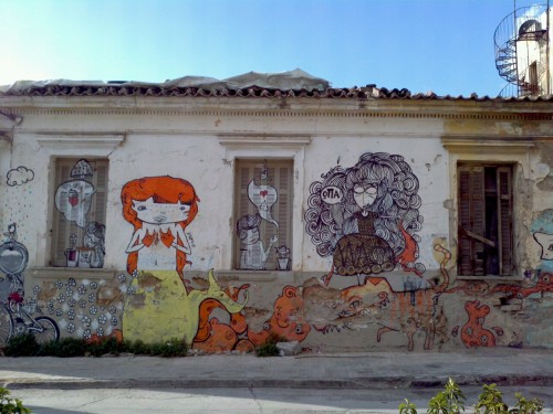 They tore down this old house in Gazi…the graffiti are now replaced by a dusty black hole. Perfect storm happening in Athens right now btw.