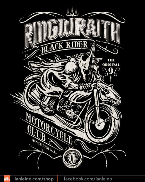 ianleino:  Black Rider Motorcycle Club by Ian Leino. $11 • May 12th • TeeFury.com Plus, follow Ian and reblog this post for your chance to win a free shirt from his shop!  Man, i love this!