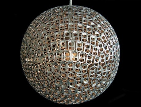 Lamp made out of recycled can tabs.