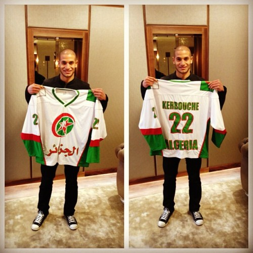 Algerian footballer Adlene Guedioura with the Algeria ice hockey jersey. #algeria #algerian #algerie #hockey #football #soccer #shirt #london #nottingham #nffc #teamalgeria #teamdz