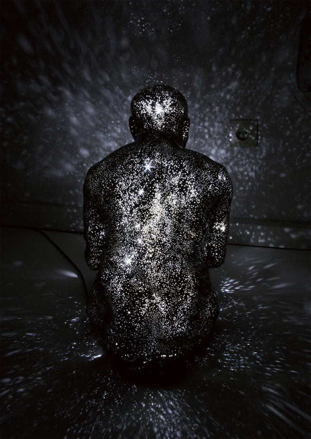 fornicating:  In her ongoing series of figurative sculptures titled Milky Ways, artist Mihoko Ogaki explores ideas of life, death, and rebirth. The dead or dying human forms are constructed from Fibre-reinforced plastic and embedded with bright LEDs that when lit project fields of light resembling stars in the surrounding space.