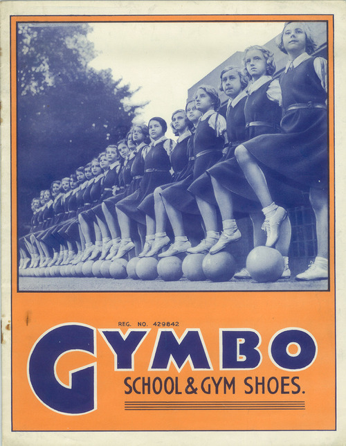Advertisement for Gymbo School & Gym Shoes, 1930, from MoMA's fascinating design history of childhood.