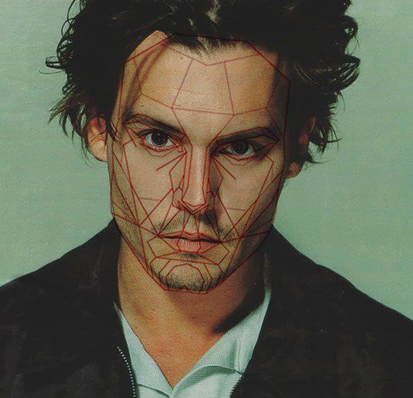 lovingjdepp:  Johnny Depp with Golden Ratios - mathematical ratios used to determine how perfect the human face is. Leonardo Da Vinci also used these ratios to create his drawings.