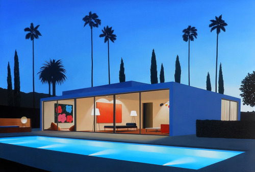 midcenturymodernfreak:  San Francisco based artist Tom McKinley paints modernist dream homes in Los Angeles. Via
