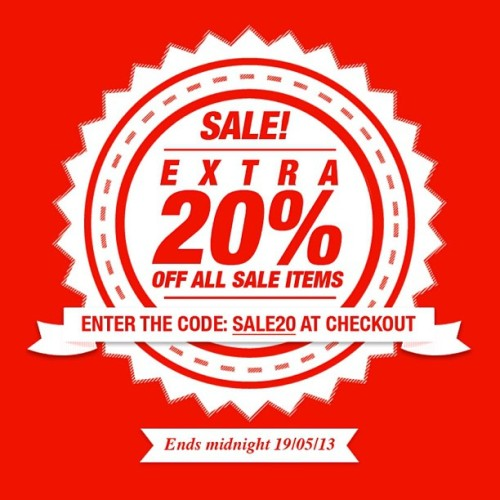 Get an extra 20% off ALL sale items now! Enter the code SALE20 at checkout. Offer ends midnight tonight! #footasylum #sale #offer #discount #sale20 #20discount #summer