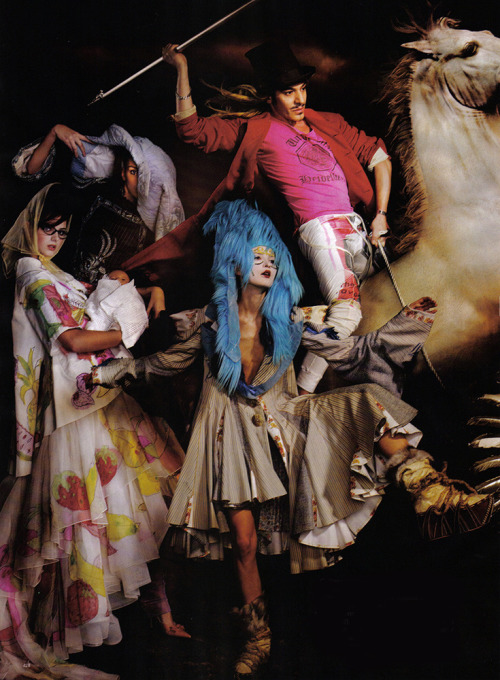 'Galliano's Glorious Reign', John Galliano's 10th Anniversary at Christian Dior by Simon Proctor, Harper's Bazaar US March 2007. From left to right: Christian Dior Spring Summer 2001 Haute Couture, Christian Dior Fall Winter 2001 Haute Couture, Christian Dior Spring Summer 2002 Haute Couture