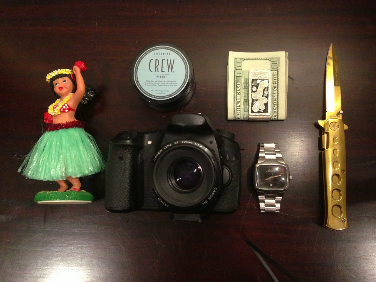 Everyday Carry Submitted By: surferboytimbo Lucky Hula Girl For My Car - Shop on Amazon Crew Fiber - Purchase on Amazon Canon 60d (Taped out Labels) - Purchase on Amazon Money Clip From Mexico Nixon Player Watch - Purchase on Amazon Gold Switchblade - Purchase on Amazon