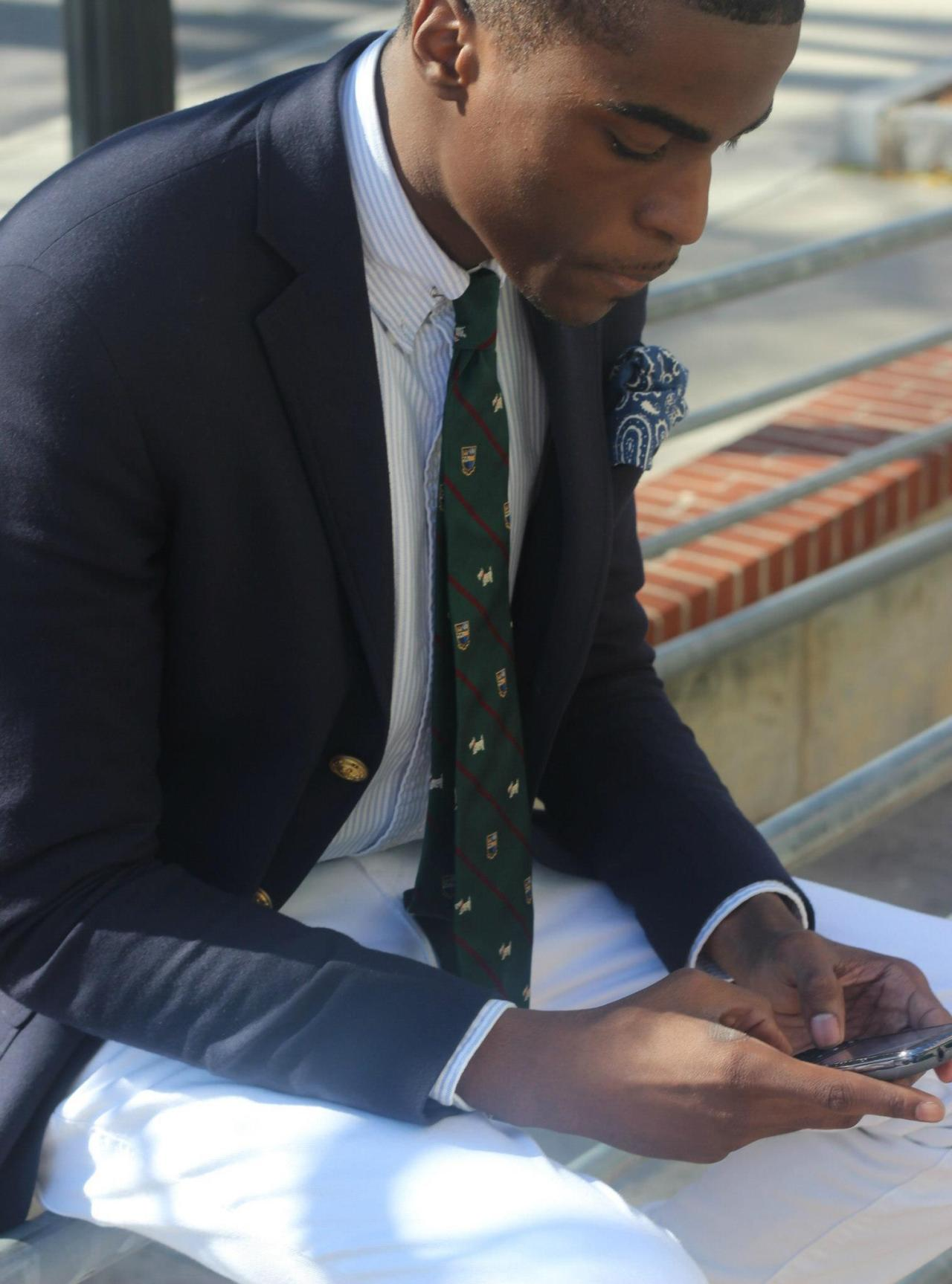 blackfashion:  Blazer and Bandana: Rugby by Ralph Lauren, Shirt and Tie: Polo Ralph Lauren, Trousers: Levis Jalen Law, 19, Morehouse College in Atl, GA submitted by http://jayblazersandbowties.tumblr.com/ Photographed by Jalen Law
