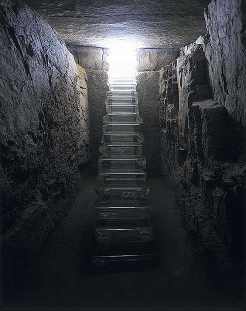 gallowhill:  Stairway of Light, 2002 by Hiroshi Sugimoto   A glass staircase for the reconstruction of Go-Oh Shrine