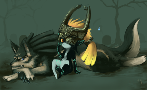 mastershortpantsx3:  Wolf Link and Midna by *purplekecleon