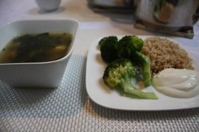 Miso soup, brown rice and steamed broccoli that my mum and I made for dinner tonight.