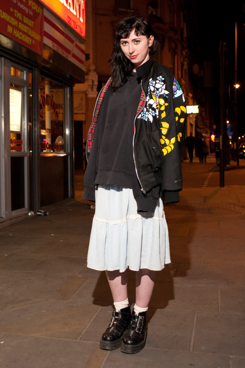 Dalston by night London street shots featuring the gorgeous @mary_benson wearing her own design bomber jacket.