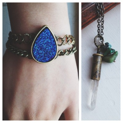 Double stranded bracelet & a bullet shell/turquoise necklace. Some of my favorites so far.