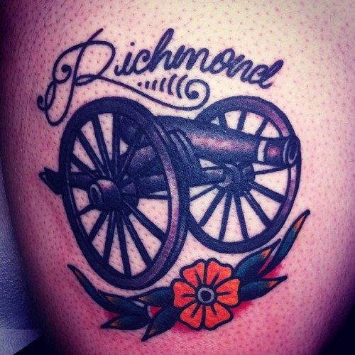 joshstephenstattoos:  Richmond cannon (at Hold It Down Tattoo)  Hold It Down Tattoo 302 N. Goshen St. Ste. #100 Richmond,VA 23220 (804) 643-3696 Questions or concerns? Need to make an appointment? Give us a call or send an email.