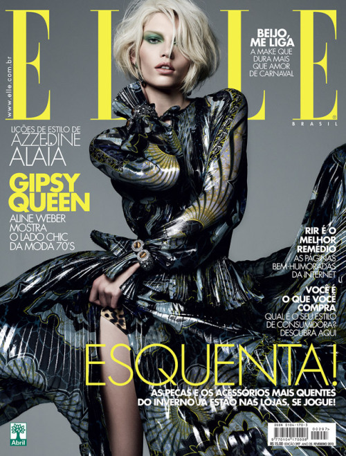 Aline Weber in Emilio Pucci on the February 2013 cover of ELLE Brazil. Photographed by Bob Wolfenson.