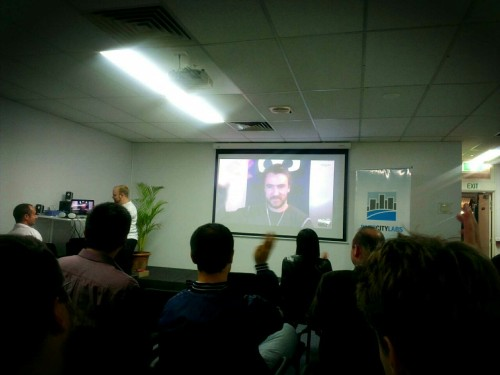 Ninja Blocks CEO Pete Moore presenting at Mobile Monday Brisbane