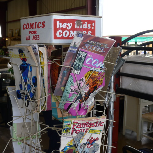 Comics for all ages! Yup. Spinner rack spotted in the wild. I almost asked how much it cost. Will be posting more, but you Sunday folks get an early taste.