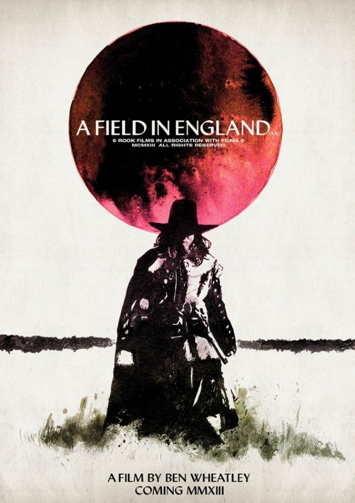 Poster Per Diem: Luke Insect & Kenn Goodall's A Field In England Teaser Poster  I've seen Wheatley's Down Terrace, Kill List, and Sightseers, and have been wowed each and every time. So, it goes without saying that I'm dying to watch his latest, A Field In England. Beyond the pitch black, pitch perfect movies themselves, the director is known for consistently releasing some of the sharpest movie posters around. Take, for example, the incredible A Field In England teaser above by artist collective Twins Of Evil (Luke Insect and Kenn Goodall) which, like any quality piece of marketing should, captures your attention without spilling the beans. Insect and Goodall's print was available online before quickly selling out, but according to the Rook Films shop there's a small chance we may be seeing a second edition of these sometime in the nearish future.  Click here to read more | Click here to visit the Rook Films shop