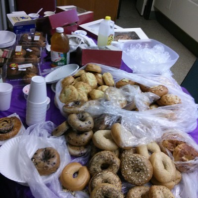Field Day breakfast for volunteers and teachers, courtesy of myself and Panera.