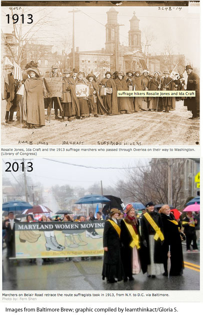 Honoring suffragists' march through Overlea 100 years agoWelcomed in places but also jeered and booed, these women marched in 1913 for voting rights they didn't get until 1920.
