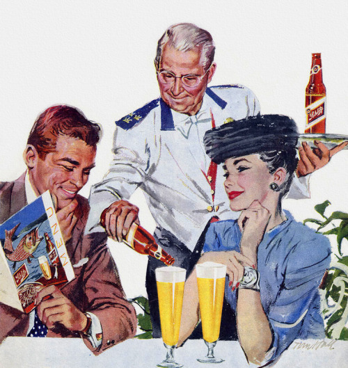 theniftyfifties:  Schlitz Beer advertsiement detail,1956. Artwork by Tom Hall.  Did people really feel classy drinking Schlitz in the 50s? I find it impossible to believe