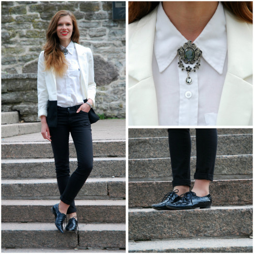 All dressed up in b&w / Win a pair of sunglasses on my blog! (by Piia Õ.)A classic B&W look with shoes that are so pointy that they could be used as a weapon, the ever-important red lipstick and a brooch fit for royalty.  Check out more on my blog :) -P. Bowtie Diary  #black #white #giveaway #minimalistic