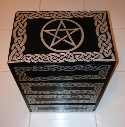 Custom Order:  4 Drawer Apothecary Chest — Onyx Black w/ Silver Pentagram & Celtic Knotwork https://www.etsy.com/listing/123853256/apothecary-chest-4-drawer-large-celtic RavynsNest.etsy.com