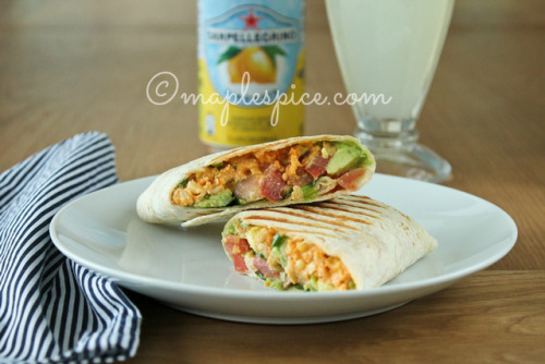 Vegan Chicken Salad Wrap with Roasted Red Pepper Almond Mayo, Avocado, Tomato and Basil