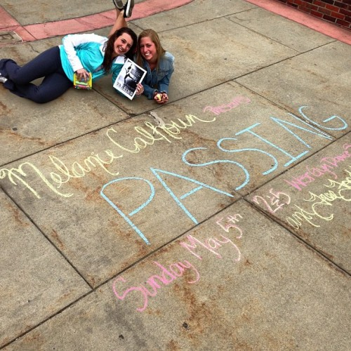 just caught my chalking committee in action! they are advertising for my senior show this Sunday! shows at 2 &5pm in the West Gym Dance Studio. it's FREE with FREE FOOD and awesome dancing! SEE YOU THERE! @taytay3992 #nicole
