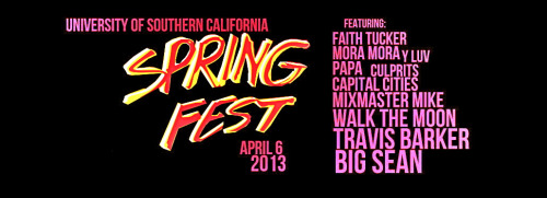 ON THE LINEUP FOR USC SPRINGFEST! http://www.uscconcerts.com/concerts/?p=451