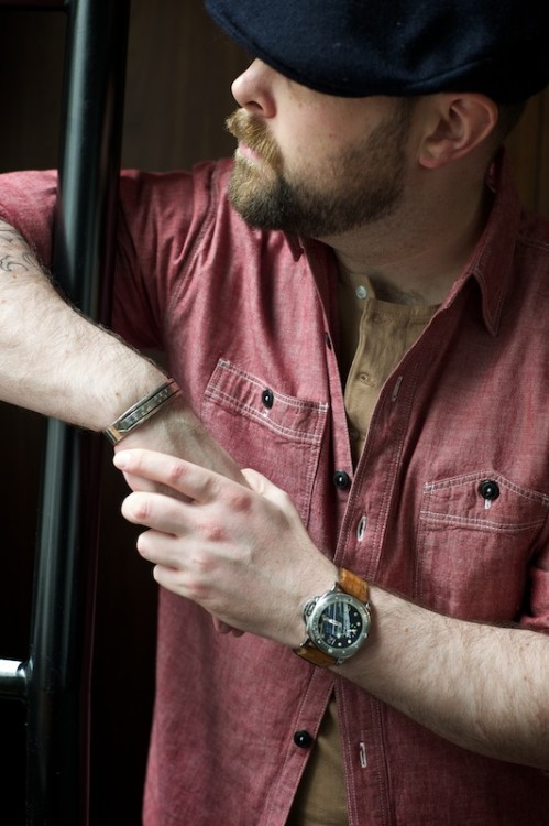 ethandesu:  Red Chambray by The Armoury Undershirt by Cicada Hat by Hanna Hats
