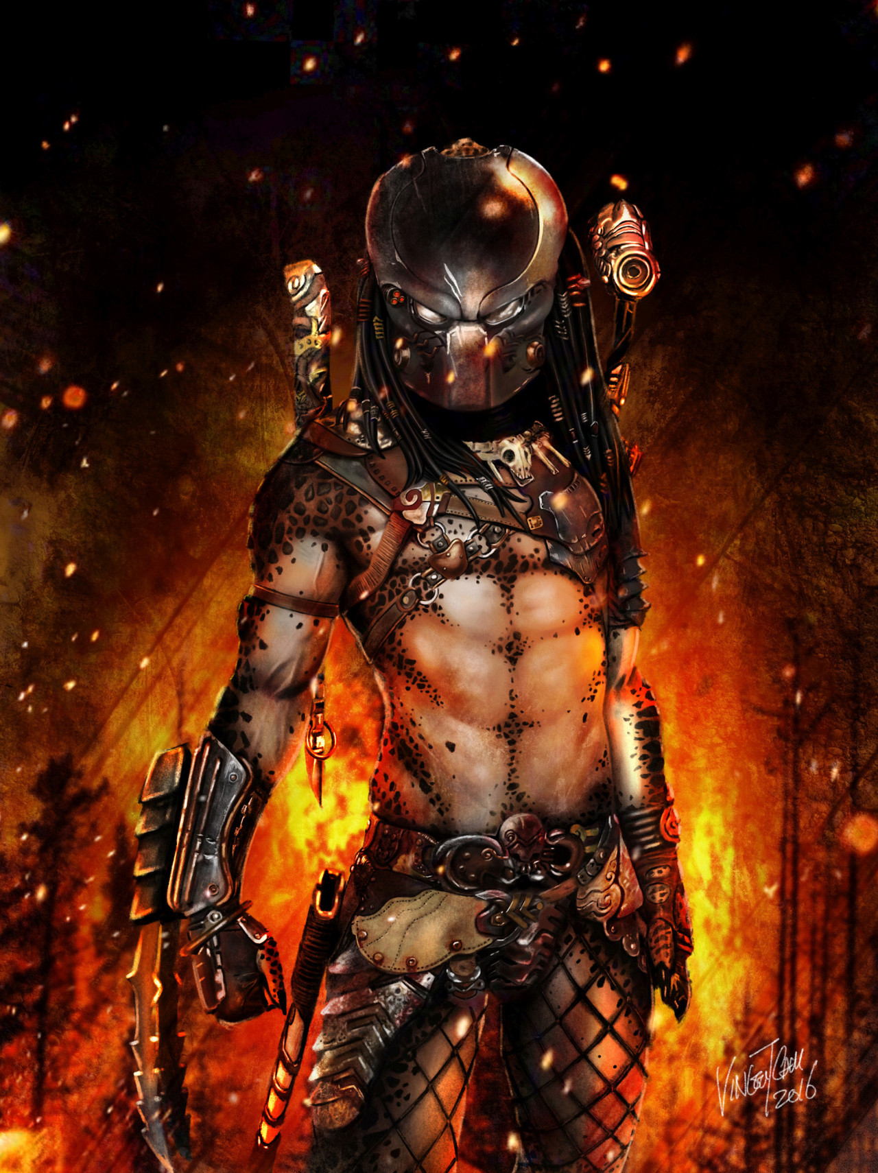 #fine art#male#warrior#swords#blades#armor#fire#flames#fantasy